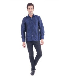 Scot wilson Men's Navy Blue Silk Shirt
