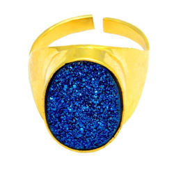 Blue Titanium Druzy Oval Adjustable Ring