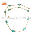 Aqua Chalcedony Gemstone Designer Gold Plated Silver Chain Necklaces