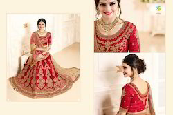 Red Rose Color Stylish Embroidered Designer Lehenga
