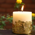 Pillar Candle with Flower Candle Holder 3 Inches