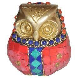 Brass Owl With Stone Work