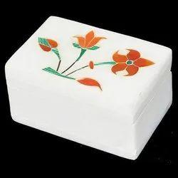 Maroon Handicrafts Marble Inlay Work Pill Box