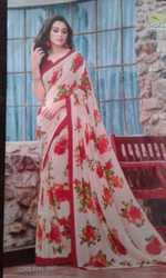 Georgette Party Wear Ladies Flower Print Sarees, With Blouse Piece
