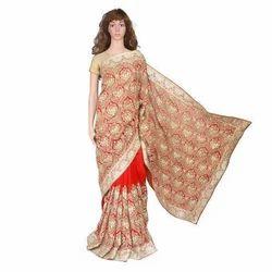 Plain Wedding Wear Jhalak Designer Saree, 5.5 m (separate blouse piece)