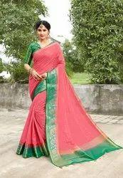 Linen Cotton Woven Saree With Jacquard Blouse,6.3m