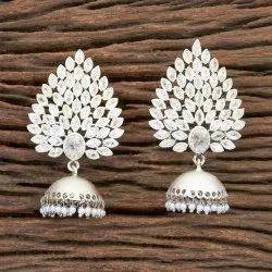 Antique Matte Rhodium Jhumki Earring 202194