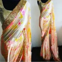 Party Wear Fancy Polyester Sarees with 6.3 m Blouse Piece