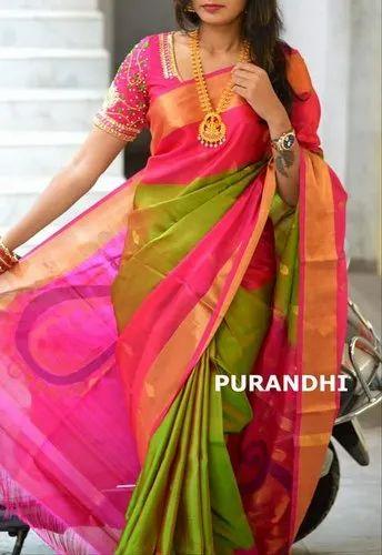 6c18714de Uppada pure pattu Running Ladies Designer Cotton Saree, Hand Made, Age  Group: 16