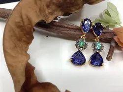 18K Yellow Gold Iolite & Emerald Earrings