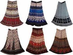 Rayon Crepe Bagru Skirt