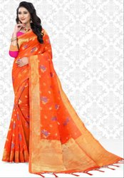 Tangy Orange Super Net Saree