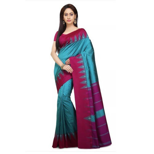 61e380eab8 Peacock Blue And Pink Party Wear Kanchipuram Silk Saree, 5.5 M (separate  Blouse Piece