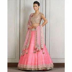 Party Wear Stitched Pink Lehenga