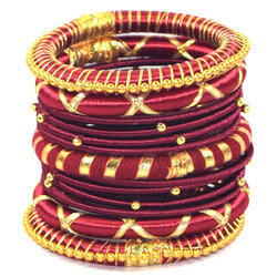 fashionable Mahroon Silk Thread Bangle Set