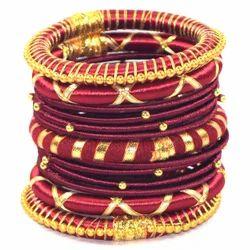 fashionable Mahroon Silk Thread Bangle Set