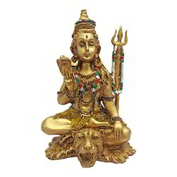Antique Golden Look Lord Shiva Meditating Statue Gift Item