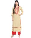 Jaipur Kurti Cream Embroidered Kurta