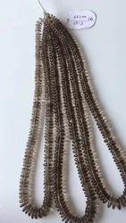Black Smoky Quartz Plain Button Shape Beads