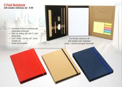 Plastic Rectangular 3 Fold Notebook With Wooden Stationary Set