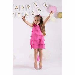 Plain Girls Party Wear Pink Dress