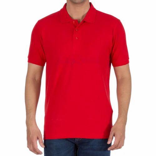 957887a4a98 Large Maroon Men  s Collar Plain T Shirt