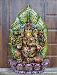 2 Feet Wooden Artistic Leaf Ganesha