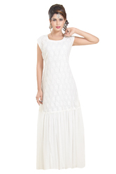 Regular Cotton Maxi Tul Net Night Dress