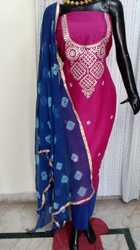 Party Wear Red Aaditri Unique Chanderi Gota Patti Dress Material
