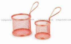 Mini Serving Basket Round - Stainless Steel for Restaurant