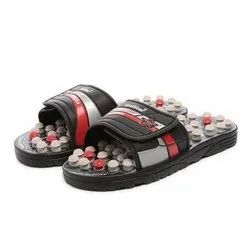 Mens Black Red Acupressure Slippers
