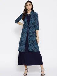 Cottinfab Polycrepe Printed Maxi Dress