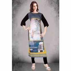 Trendy Printed Crepe 3/4th Sleeve Kurti