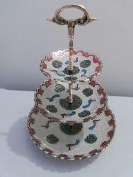 Brass Enamel Cake Stand