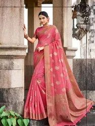 Pink Banarasi Jute Linen Saree  With Blouse Piece