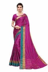 Cotton Silk Party Wear Pink Saree With Blouse Piece