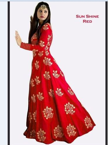Sunshine Red Long Flair Gown at Rs 695 /piece | Long Gowns | ID ...