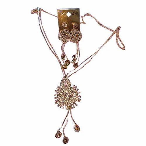 Brass And Stone Fancy Imitation Necklace Set