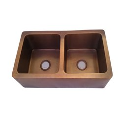 RGN Double Copper Kitchen Sink, Size: 89cm X 46cm X 25cm