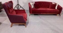 Adinath Home Red Velvet Sofa