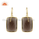 Gold Plated Silver Natural Smoky Quartz Gemstone Earrings For Women