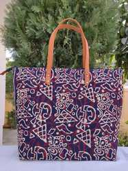 Ladies Cotton Hand Block Print Tote Bag