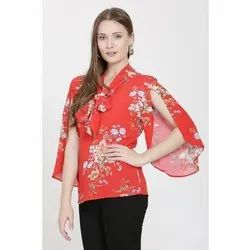 Viscose V-Neck Ladies Floral Printed Top, Size: S-XL, Packaging Type: Packet
