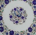 White Marble Dining Table Top Mosaic Gems Art