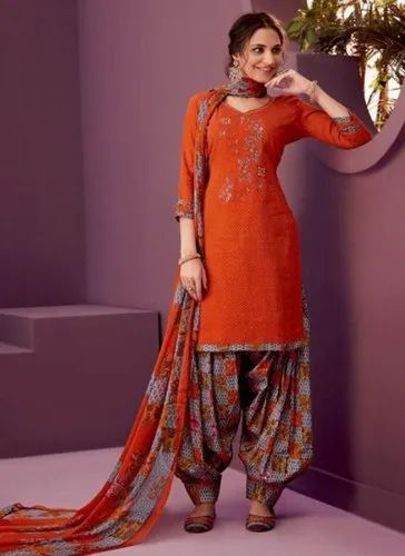 Orange Kesari Exports Punjabi Style Cotton Salwar Suits