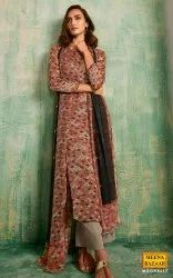 MBGN8417- Grey Printed Silk Suit Set with Handwork