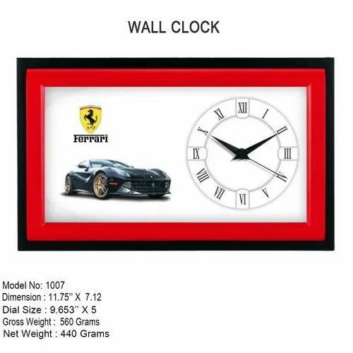 "Analog Plastic Branded Wall Clock, Size: 11.75"" X 7.12"""
