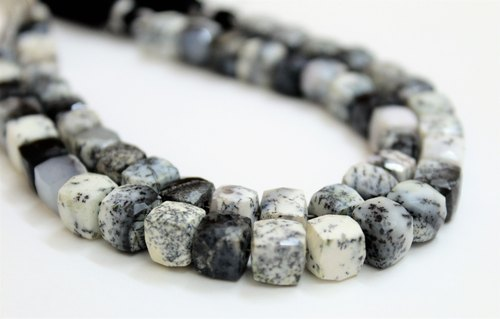 Natural Dendrite Opal 3D Cube Box Faceted Briolette 7-8mm Gemstone Beads 6 to 10 Strand Dendrite Opal Beads