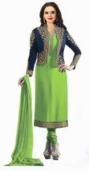 Stylish Georgette Embroidered Jacket Salwar Suit (G26-Parrot Green)