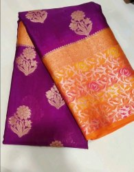 Party Wear Vastukala 6.3m Purple Banarasi Silk Saree, 6.3 m (with blouse piece)